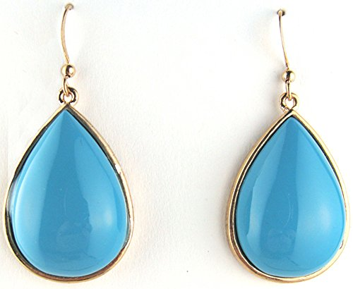 Earrings Lucite Pierced (Turquoise Colored Teardrop Shaped Lucite Pierced Dangle Earrings)