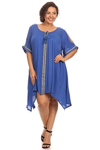 Plus Size Blue Midi Dress With Shoulder Cutouts --Size: 3x Color: Blue