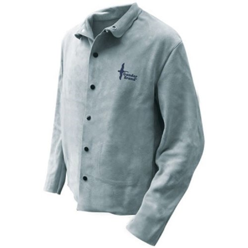 Bob Dale 64-1-50P-S Premium Pearl Split Leather Full Welders Jacket with Welts, Small, Grey by Bob Dale