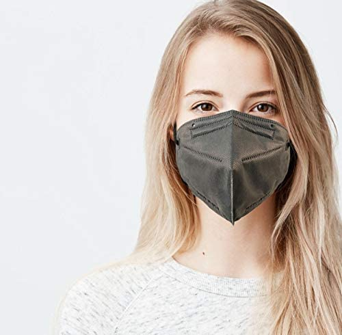 5 Layer Protection Breathable Face Mask (Gray) - Made in USA - Filtration>95% with Comfortable Elastic Ear Loop | Bandanna Replacement | For Travel and Personal Care (5 pcs)