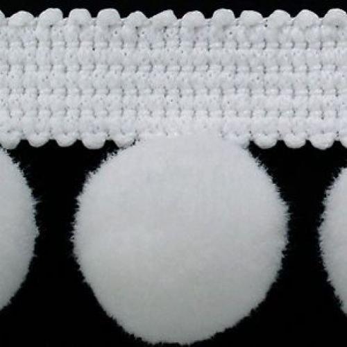 Bordo a frange con pompon, di alta qualità, misura XL, 2 cm, (al metro), colore: bianco #C di alta qualità HomeBuy