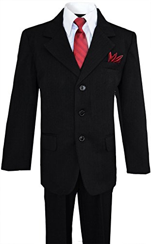 Little Boys Pinstripe Suit Outfit with Three Buttons (7, Black) (3 Button Black Pinstripe Suit)