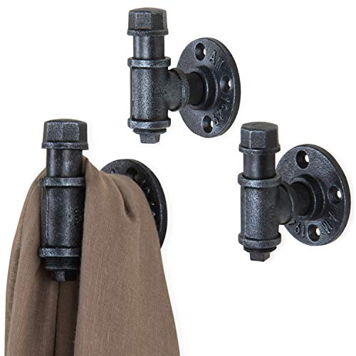 MyGift Industrial Wall-Mounted Metal Pipe Fitting Coat Hooks