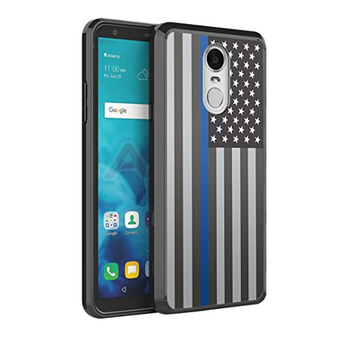 (Capsule Case Compatible with LG Stylus 4, LG Stylo 4 (Year 2018), LG Stylus Q [Hybrid Slim Back Shield Fused TPU Edge Bumper Case Black] for LG Stylo 4 - (USA Flag Blue Line))