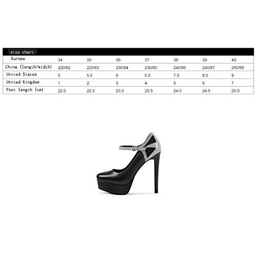 12 Fine de Chaussures L'Eau Boucle Talons des Haut Femmes Haute à Forme Noir 5cm Avec Simples Talon Imperméable Plate Chaussures Noires Wysm wtdq878