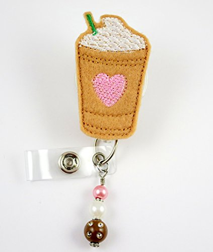 Iced Coffee with Pink Heart - Nurse Badge Reel - Retractable ID Badge Holder - Nurse Badge - Badge Clip - Badge Reels - Pediatric - RN - Name Badge Holder