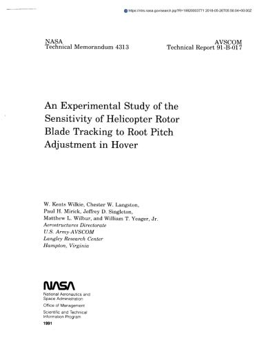 An experimental study of the sensitivity of helicopter rotor blade tracking to root pitch adjustment in hover
