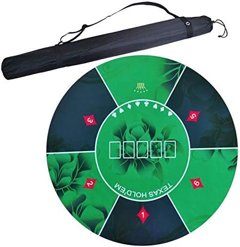 GYFHMY Alfombrilla de Mesa de póker Redonda portátil para 4 Juegos de Mesa de Jugador de Casino, Fondo de Goma Liso de Mesa, con Bolsa de Transporte Plegable, Fiesta Familiar: Amazon.es: Hogar