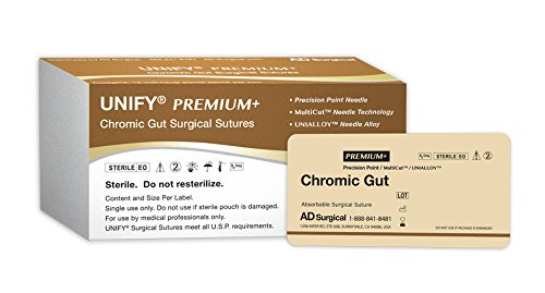 (Unify Surgical Chromic Gut Sutures. #PSC-618R13 Absorbable. Mono Bown. Size 6/0. 18