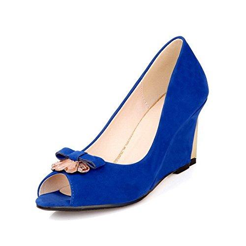 AllhqFashion Mujeres Peep Plataforma Cuero Sólido Sin cordones Sandalia Azul