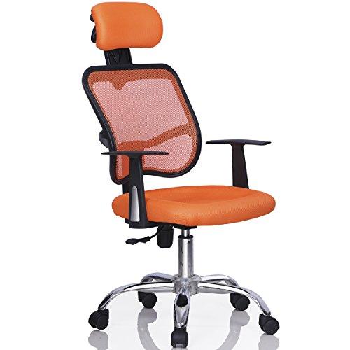 Gotobuy Ergonomic Mesh Computer Office Chair Desk Highback Task Chair with Adjustable Headrest (Orange)