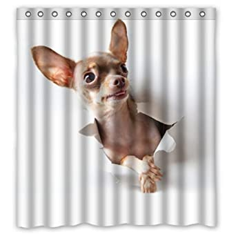 Amazon Waterproof Bathroom Chihuahua Shower Curtain 66 X 72