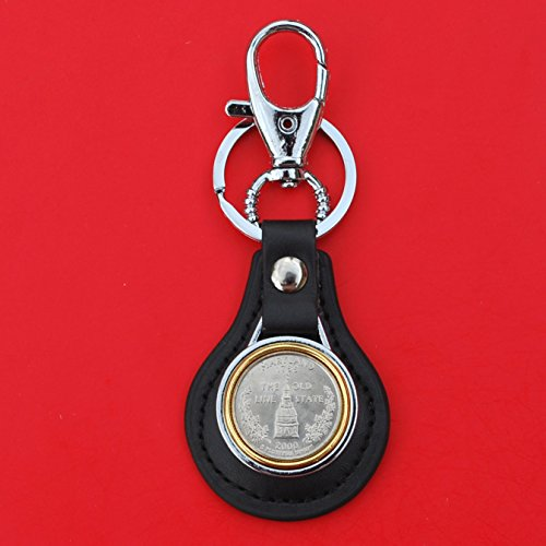 US 2000 Maryland State Quarter BU Uncirculated Coin Gold Silver Two Tone Leather Key Chain Ring NEW