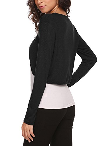 Hotouch Women's Solid Soft Stretch Long Sleeve Layer Bolero Cardigan Black L