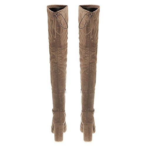 High Block Heel Over Knee Boot With Half Zip MOCCA SUEDE 0mioE1J