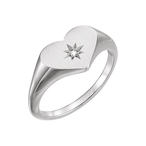 14kt White .01 CTW Diamond Heart Signet Ring - Ladies 14kt Gold Signet Ring