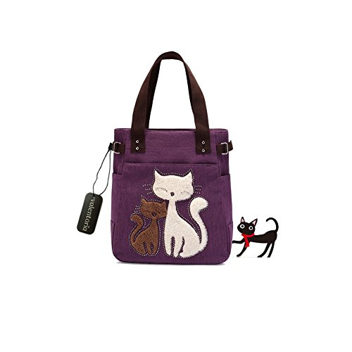 Girl Large Tote - Back to School Deals 2017--Valentoria® Cute Cat Design Multifunction Women's Canvas Zipper Closure Handbag Shoulder Lunch Tote Bag with Large Capacity Best Gifts for Teen Girls(Purple)