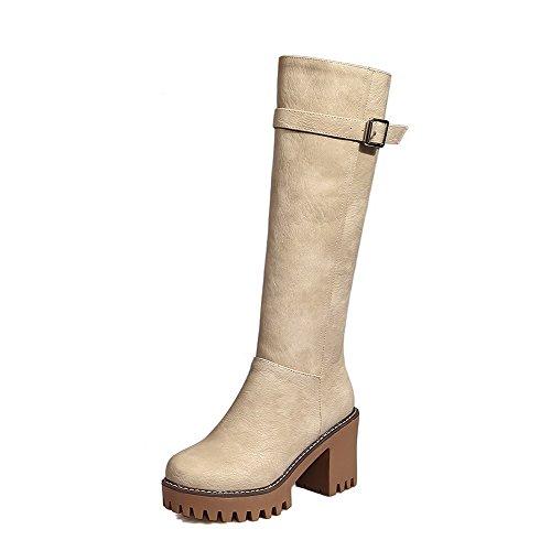 AgooLar Damen Hoher Absatz Rein Reißverschluss Rund Zehe Stiefel, Cremefarben, 37