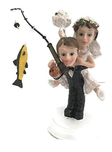 Gone Fishing Wedding Cake Topper Bride Groom Couple Cake Decoration ()