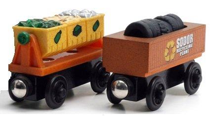 Thomas Wooden Railway Train - Recycling Rubbish Scrap Trash Cars 2pk - Loose Brand New