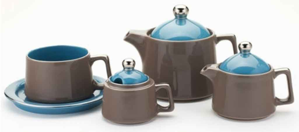 Classic Coffee & Tea Tower Tea Set, Brown/Teal