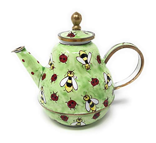 Kelvin Chen Bees and Ladybugs Enameled Miniature Teapot, 3.75 Inches Long ()