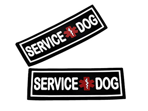 Dogline Service Dog Patch for Harness and Vest | Removable 3D Rubber Patches | Hook Backing for Small or Large Working Dogs