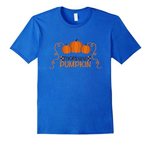 Cute Homemade College Halloween Costumes (Mens Funny Morning Pumpkin Halloween Teacher t shirt Medium Royal Blue)