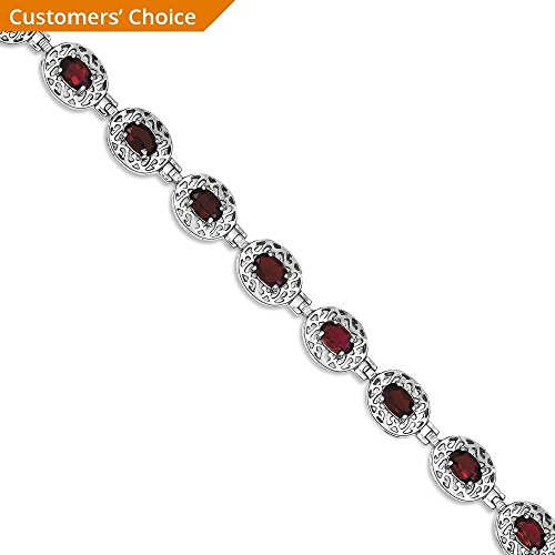ICE CARATS 925 Sterling Silver Red Garnet Filigree Bracelet 7 Inch Gemstone Fine Jewelry Gift Set For Women Heart by ICE CARATS (Image #3)