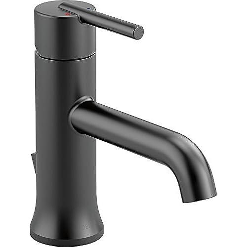 matte black faucet. Delta 559LF-BLMPU Trinsic Single-Handle Bathroom Faucet With Metal Drain Assembly, Matte Black C