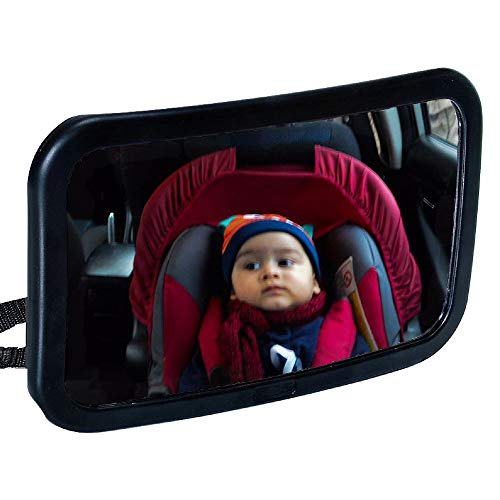 Gnker Baby Car Mirror Rear Facing for any Headrest Shatterproof Safety Glass Fully Adjustable Wide Angled and Convex Glass
