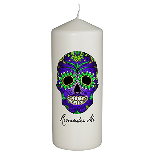 Hat Shark Remember Me Celebration Candle for Day of The Dead - Dia De Los Muertos - Printed in Full Color 6 Inches Tall (Green and Blue)