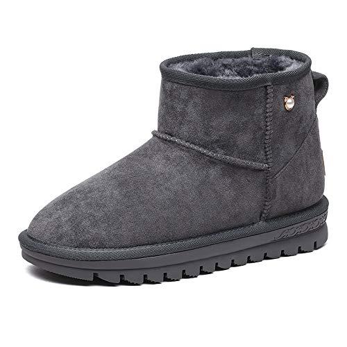 Shukun Stiefeletten Schnee Stiefel Winter Fluffy Warme Flache Schnee Stiefel Damen Baumwolle Schuhe Kurze Stiefel Kinder Schuhe