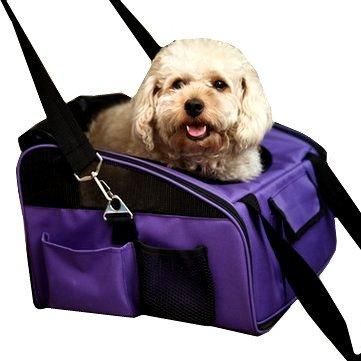 Der&Dies 2 in 1 mutifunktionale Autotransporttasche Tiertransporttasche Transportbox Tragetasche Umhängetasche für kleine Hunde (wie Bolonka, Chihuahua, Cavalierchen, Zwergdackel, Malteser , Shi tzu Havaneser) und kleine Katze oder Mäuse, Nager. Transporttasche auch als Schlaf- oder Sitzplatz auf Reisen benutzt werden können.(Größe:40X34X26)(Violett)