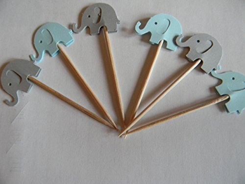 24 mixed blue and gray elephants cupcake toppers food picks baby shower decor (Blue And Gray Baby Shower)