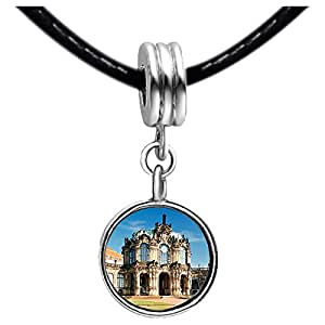 Chicforest Silver Plated Rampart Pavilion Zwinger Palace Dresden Photo Black Crystal Flower dangle Charm Beads Fits Pandora Charm