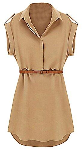 Safari Shirt Dress (US&R, Women's Black Beige Cap Sleeve Belted V Neck Safari Style Mini Shirt Dress, Khaki 4 ,Manufacturer(S))
