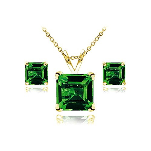GemStar USA Yellow Gold Flashed Sterling Silver Simulated Emerald Square Solitaire Necklace and Stud Earrings Set