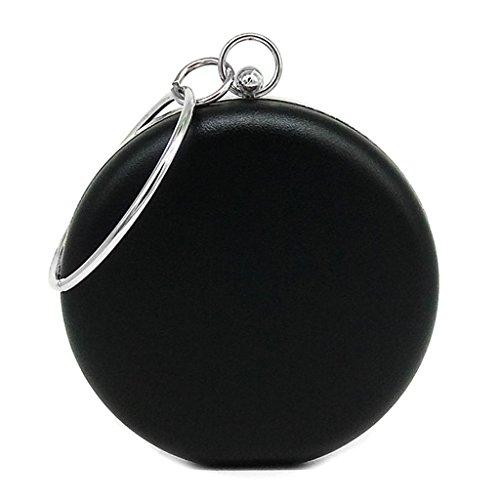 Handbag Purse Black Shoresu Evening Party Bags Wedding Mini Bag Clutch Women's Silver Round Fashion O6w6EFx8
