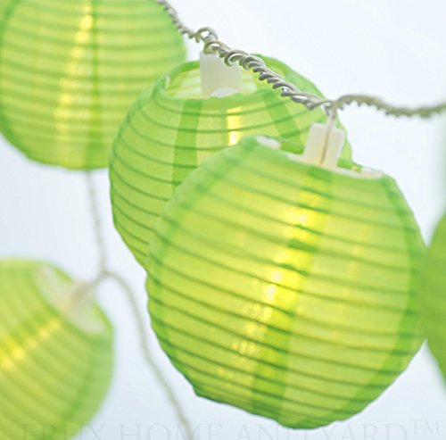 LIGHT GREEN INDOOR - OUTDOOR MINI NYLON STRING LIGHTS EXTRA LONG 16 FT - EXTENDABLE - INCLUDES FREE HANGING HOOKS by Frux Home and Yard