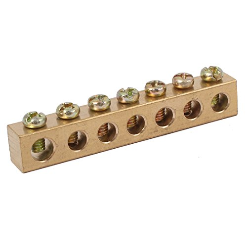uxcell 7 Holes Electrical Distribution Wire Screw Terminal Ground Copper Neutral Bar -