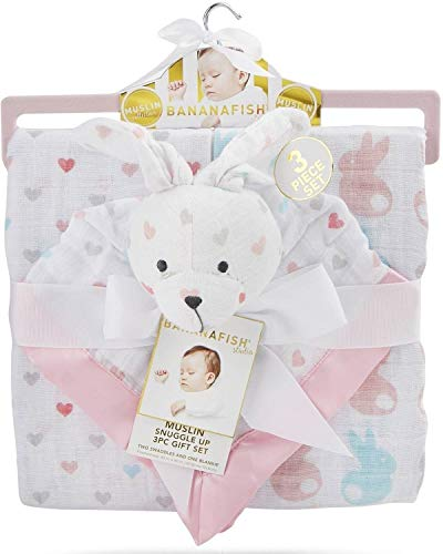 - 4SGM 35224 Banana Fish Muslin Snuggle Up Gift Set, Multicolor
