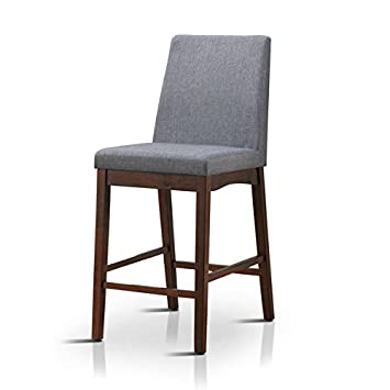 Superb Furniture Of America Tenor Mid Century Modern Grey Upholstered Counter  Height Chair (Set Of
