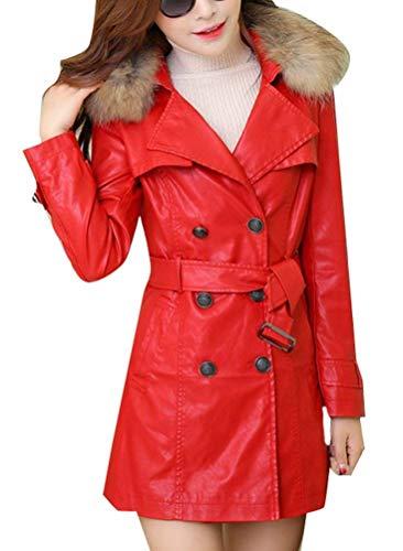 Transizione Elegante Mode Breasted Lunga Primaverile Similpelle Cappotto Fit Gesteppt Rot Donna In Autunno Trench Bavero Marca Libero Maniche Tempo Giacca Double Colore Di Lunghe Puro Outwear qfCTwEPx
