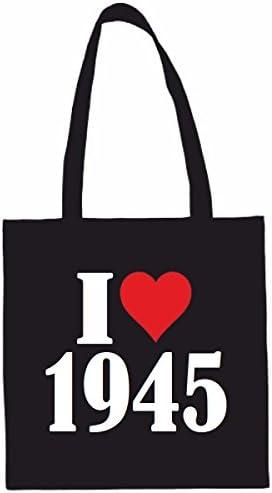 I Love 1945 Winkeltas schooltas sporttas 38x 42cm in zwart of wit het ideale cadeau voor KerstmisVerjaardagPasen of gewoon voor jezelf het ideale geschenk voor KerstmisVerjaardagOost