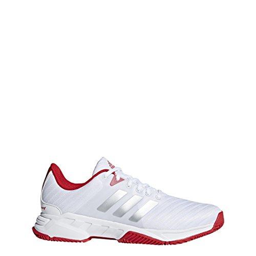 - adidas Performance Men's Barricade Court 3 Tennis Shoe, White/Matte Silver/Scarlet, 10 M US