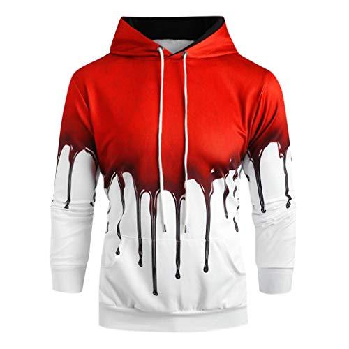 iHHAPY Halloween Hoodie Unisex Sweatshirt Long Sleeve Pullover Women Men Tops Novelty Pattern Sweatshirts 3D Print Scary