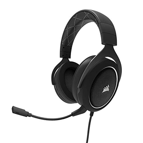 CORSAIR HS60 - 7.1 Virtual Surround Sound PC Gaming Headset w/USB DAC - Discord Certified Headphones - Compatible with Xbox One, PS4, and Nintendo Switch - White (Renewed)