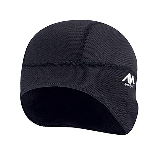 AYAMAYA Skull Cap Helmet Liner, Thermal Cycling Beanie Hat Wicks Moisture Headwear with Ear Covers for Men Women Running, Skiing & Winter Sports-Perfect Under Motorcycle Helmets,Hard Hat Cushion