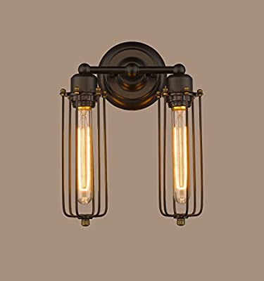 CLAXY® Ecopower Vintage 2-lights Simplicity Industrial Mini Cage Wall Sconces